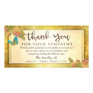 Golden Floral Butterfly Thank You Sympathy Card Personalised Photo Card