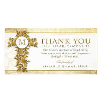 Golden Floral Cross Monogram Thank You Sympathy Card