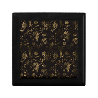 Golden floral decoration small square gift box
