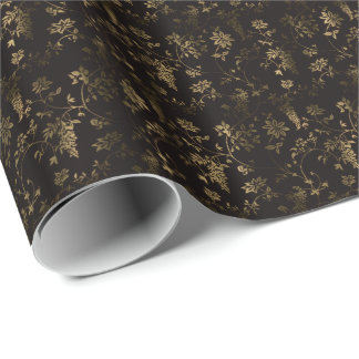 Golden floral decoration wrapping paper