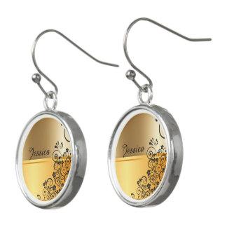 Golden floral earrings