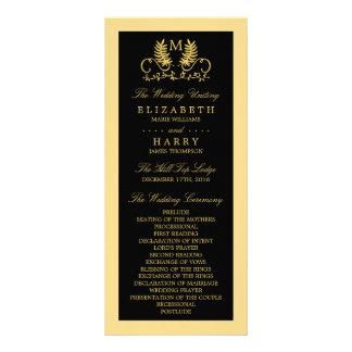 Golden Floral Emblem Wedding Program Rack Card