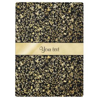 Golden Floral Flourishes & Swirls Black Clipboard