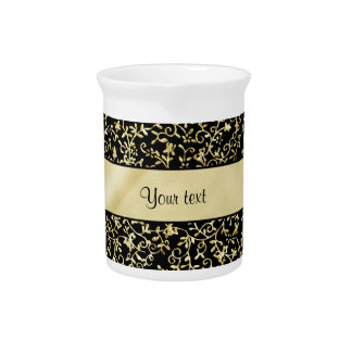 Golden Floral Flourishes & Swirls Black Pitcher