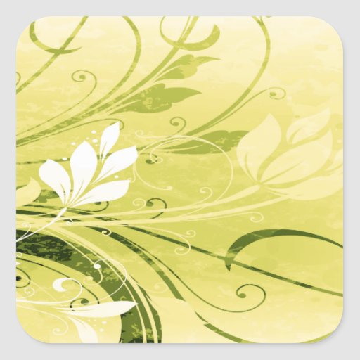Golden Floral Grunge Square Stickers
