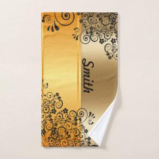 Golden floral hand towel