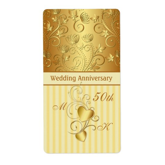 Golden floral, hearts Wedding Anniversary Wine Shipping Label