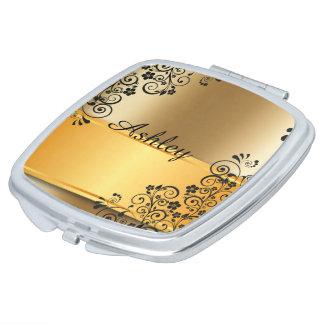 Golden floral makeup mirror
