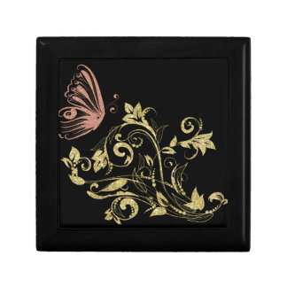 Golden floral small square gift box