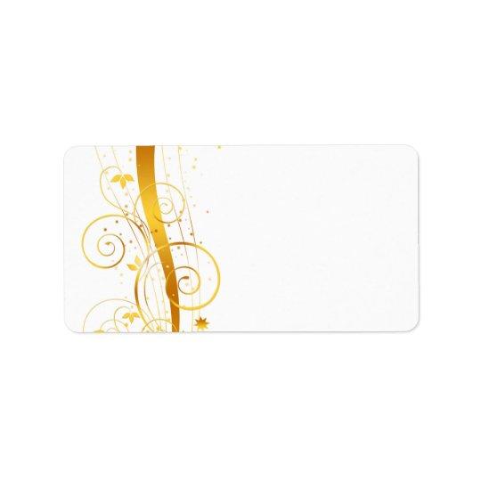 Golden florals christmas decor label
