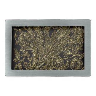 golden florals inlay style belt buckles