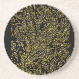 golden florals inlay style coaster