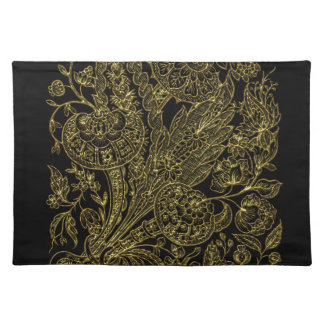 golden florals inlay style placemat