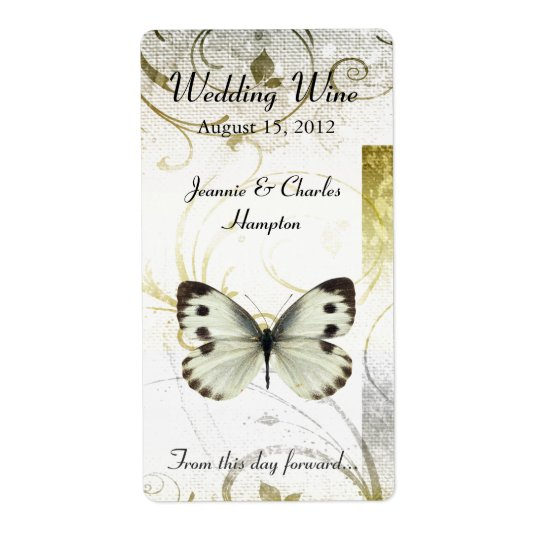 Golden Flourish & Butterfly Wedding Mini Wine Shipping Label