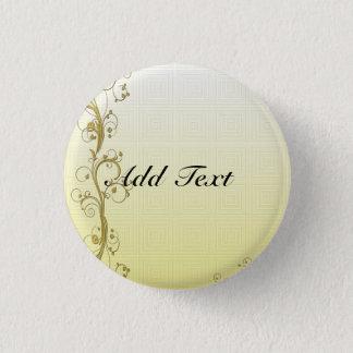 Golden Flourish Template, Customizable 3 Cm Round Badge