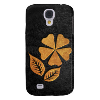 Golden Flower on Black Leather Samsung Galaxy S4 Cover