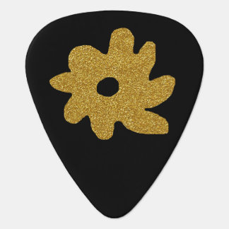 golden flower on black, personalized plectrum