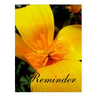 Golden Flower Reminder Card Postcard
