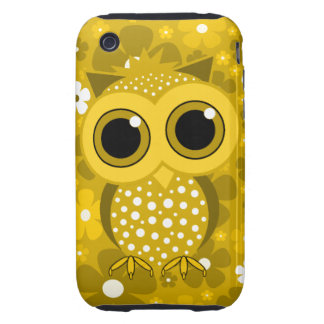 golden flowers and owl iPhone 3 tough cover