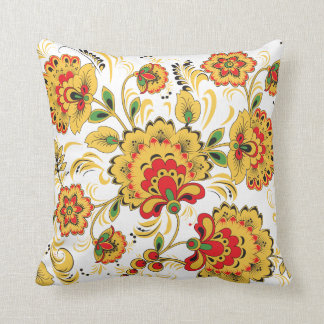 Golden Flowers Khokhloma Throw Pillow