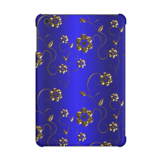 Golden Flowers on Blue iPad Mini Retina Cover