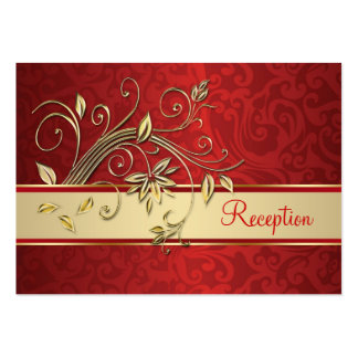 Golden flowers on red damask Reception Business Card Template