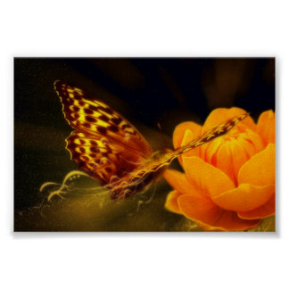 Golden Flying Butterfly Poster