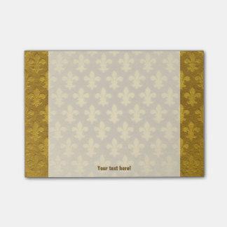 Golden foil imperial fleur de lis pattern post-it notes