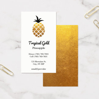 Golden Foil Photo Pineapple Business Card