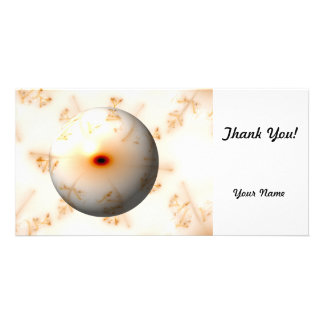 Golden Fractal Globe Personalized Photo Card