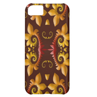 Golden Fractal Leaves on Brown Background iPhone 5C Case