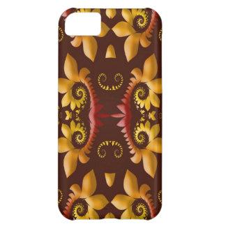 Golden Fractal Leaves on Brown Background iPhone 5C Case