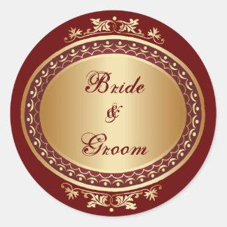 Golden Frame Bride & Groom Round Sticker