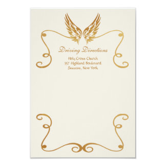 Golden Frame With Wings Driving Directions Card 9 Cm X 13 Cm Invitation Card