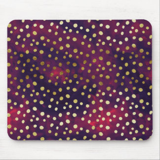 Golden Galaxy Dots Modern Glam Watercolor Mousepad