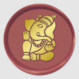 Golden Ganesha On Red Wax Seal Round Sticker