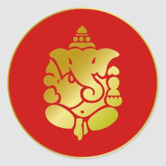Golden Ganesha Round Sticker