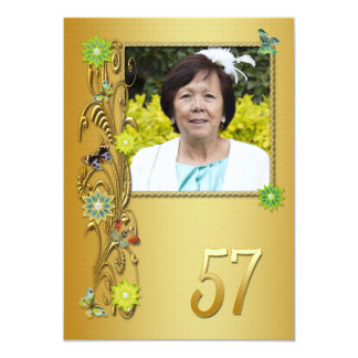 Golden Garden 57th Birthday party invitation