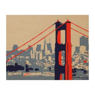 Golden Gate Bridge and skyline San Francisco Wood Wall Decor