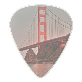 Golden Gate Bridge at Sun Down Acetal Guitar Pick