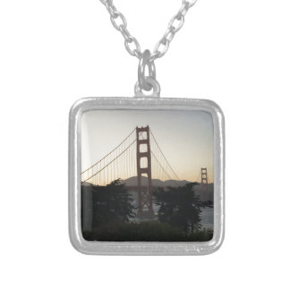 Golden Gate Bridge at Sunset Silver Plated Necklace