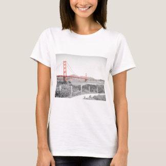 Golden Gate Bridge b&w with color pop T-Shirt