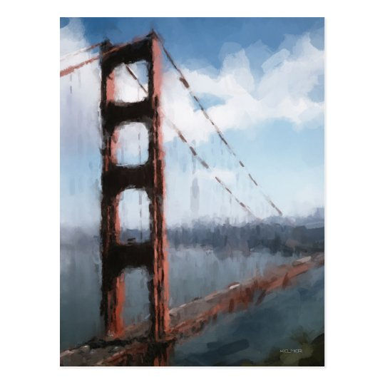 Golden Gate Bridge Digital Oil Painting Postcard