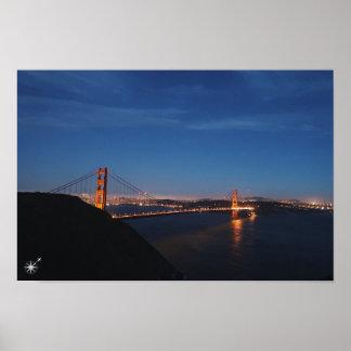 Golden gate bridge Night poster
