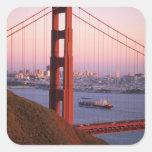 Golden Gate Bridge; San Francisco; California; Square Stickers