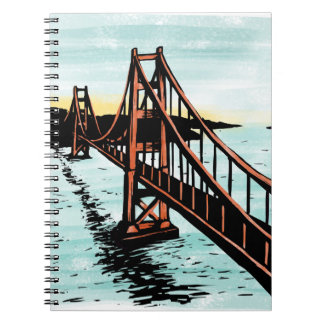 Golden Gate Bridge Spiral Notebook Woodcut Style