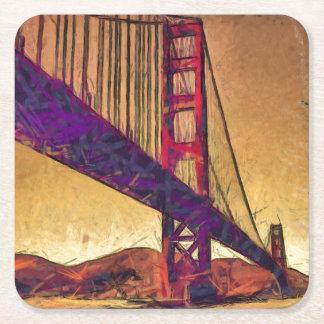 Golden gate bridge square paper coaster