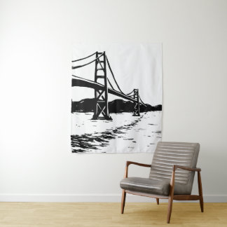 Golden Gate Bridge Tapestry Black and White