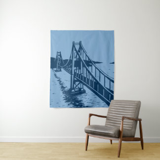 Golden Gate Bridge Tapestry in Deep Blue