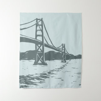 Golden Gate Bridge Wall Tapestry gray blue